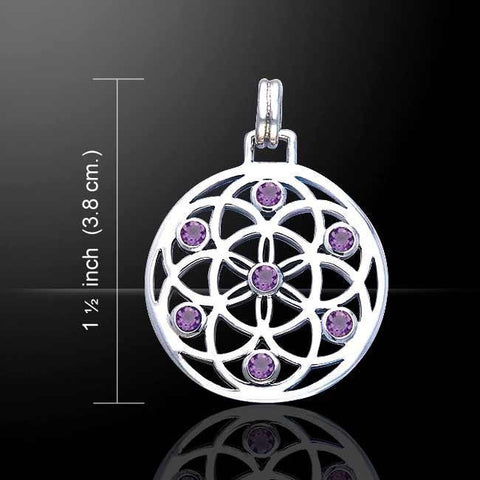Flower of Life Pendant .925 Sterling Silver Sacred Geometry Mandala with Amethyst gemstones