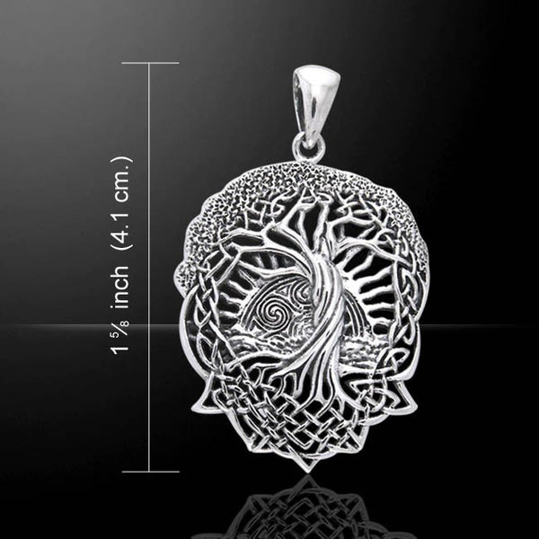 SOLSTICE Tree Pendant in solid .925 Sterling Silver - CELTIC TREE of LIFE Pagan Wicca Druid Pendant