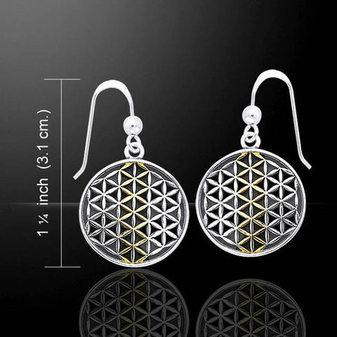 FLOWER of LIFE Earrings .925 Sterling Silver 18k Gold SACRED Geometry Mandala