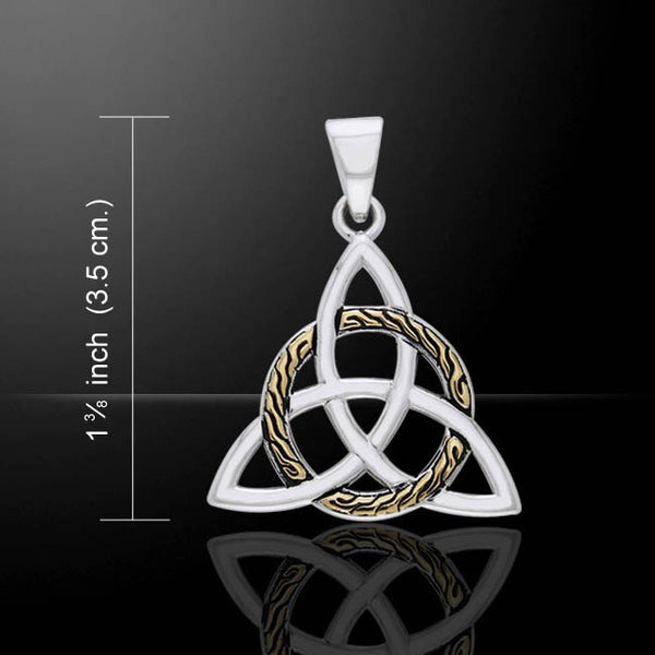 Braided Celtic Knot TRIQUETRA Pendant .925 Sterling Silver 18k Gold - GODDESS Irish Trinity Jewelry