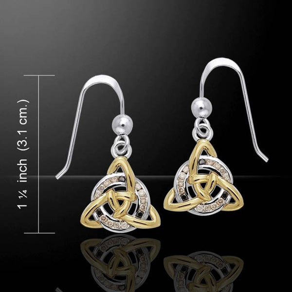 Celtic TRIQUETRA Knot Earrings in .925 Sterling Silver with gold - Trinity dangle earrings