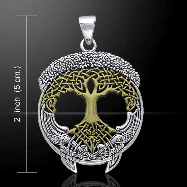 SOLSTICE Tree Pendant in .925 Sterling Silver and Gold - CELTIC TREE of LIFE Pagan Druid Amulet