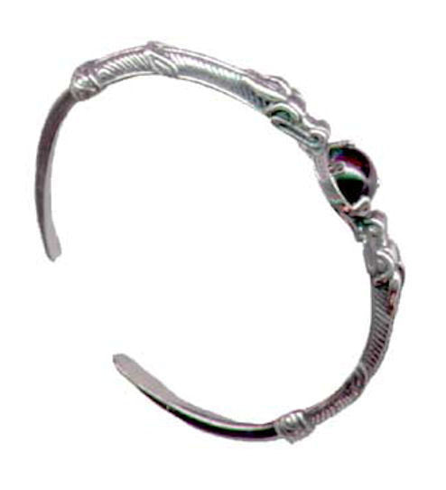 DRAGON Bracelet in .925 Sterling Silver - Serpent Magic Medieval Fantasy Cuff bracelet with Choice of Gemstone