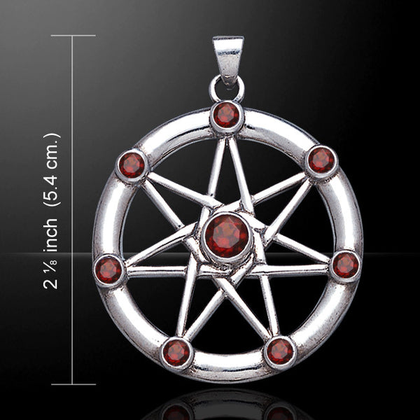 FAERY STAR Elven Pendant .925 Sterling Silver | Fae Elf Magick w/ Garnets Amulet
