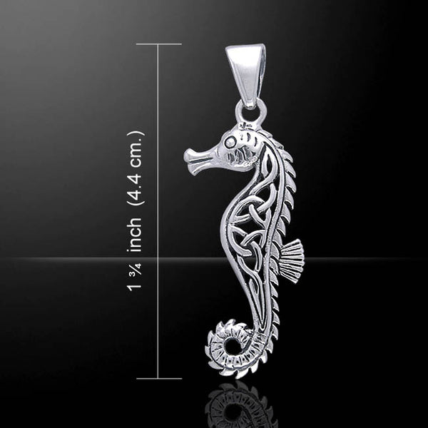 Celtic SEAHORSE Pendant .925 Sterling SILVER - Chivalry PROTECTION Water Spirit Pendant