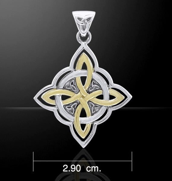 Celtic WITCHES Knot Pendant in .925 Sterling Silver with Gold accent - Quaternary Knot with Triquetra Trinity knot