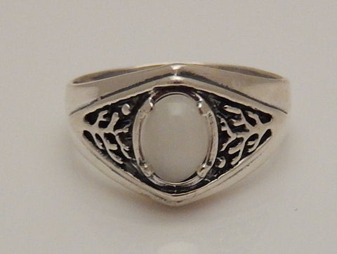 Celtic Tree of Life Ring Sterling Silver Pagan Druid World Tree Ring with a genuine Moonstone gemstone