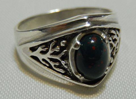 Celtic Tree of Life Ring in .925 Sterling Silver - Pagan Druid World Tree Ring with a natural Bloodstone gemstone