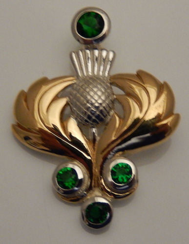 Celtic THISTLE Pendant in .925 Sterling Silver with 18k Gold accent - Scottish Guardian Thistle