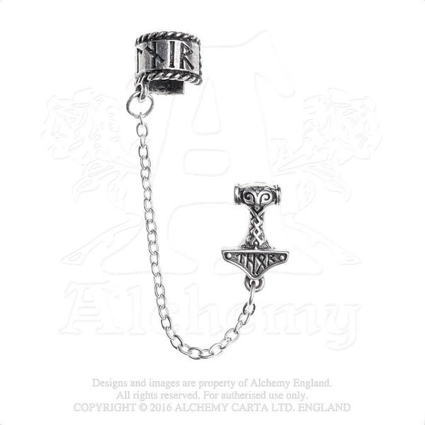 Thor Donner Earcuff - Alchemy Gothic Thor Rune Thunder Hammer Ear Cuff - Norse Thor's hammer Earring