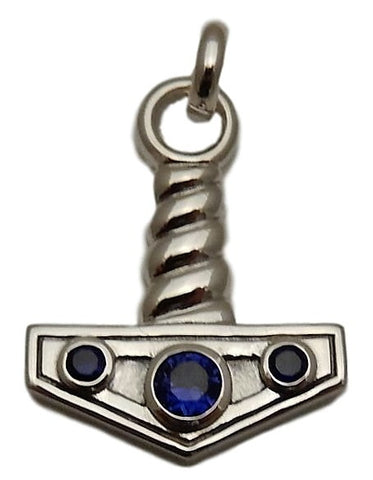 A Mjolnir THOR'S HAMMER Pendant .925 Sterling Silver with Sapphire - Viking Norse Nordic Amulet
