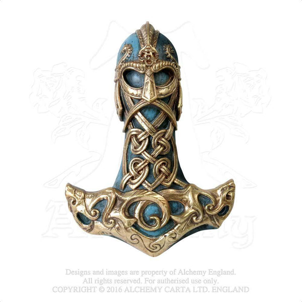 Thor's Hammer Wall Plaque - Alchemy Gothic Viking Thunder Hammer Wall Mount - Norse Home Decor