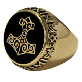 Thor's Hammer Ring in gold tone Bronze - Mjolnir Thunder Hammer Rune Viking Ring with black enamel