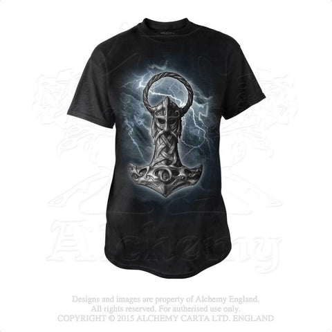 Alchemy Gothic Thor's Hammer Mjölnir T-shirt - Viking God Norse Cotton Tee Shirt