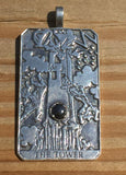 Tower Tarot Card Pendant in .925 Sterling Silver with choice of gemstone - Removal of Obstacles