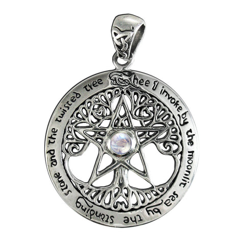 TREE PENTACLE Pendant in .925 Sterling Silver with Rainbow Moonstone - Dryad Design Twisted Tree Pentagram Amulet
