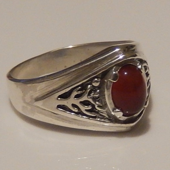 Celtic Tree of Life Ring Sterling Silver Pagan Druid World Tree Ring with a genuine Carnelian gemstone