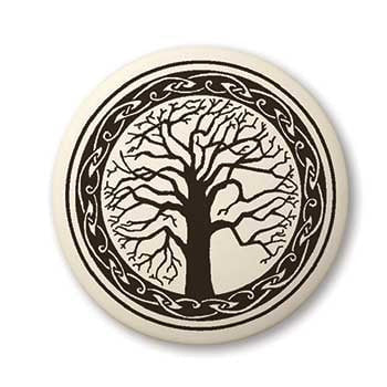 Sacred Tree Pendant - Handcrafted Porcelain Round Tree of Life Necklace Amulet