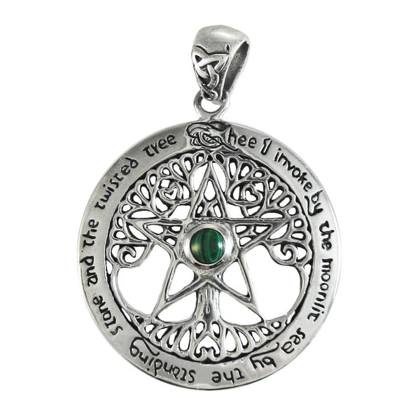 TREE PENTACLE Pendant in .925 Sterling Silver with Malachite - Dryad Design Twisted Tree Pentagram Amulet