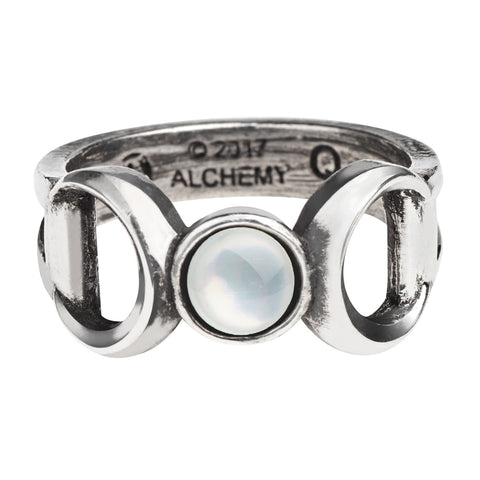 A Triple Moon Goddess Ring - Alchemy Gothic Maiden Mother Crone Ring with Mother of Pearl Moon