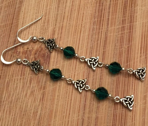 Triple Triquetra Earrings in Sterling Silver - Celtic Trinity Knot Long Dangle Earrings with emerald green beads