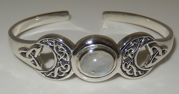 Triple Moon Goddess Bracelet in .925 Sterling Silver with Gemstone choice - Celtic Goddess Triquetra Moon Cuff Bracelet