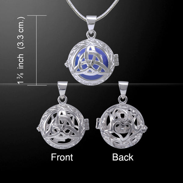 Celtic Trinity Knot Harmony Globe Meditation Pendant in .925 Sterling Silver with your color choice of Bola Chime Ball