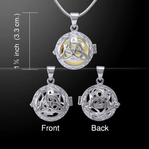 Celtic Trinity Knot Harmony Globe Meditation Pendant in .925 Sterling Silver - Gold Bola Chime Ball Necklace