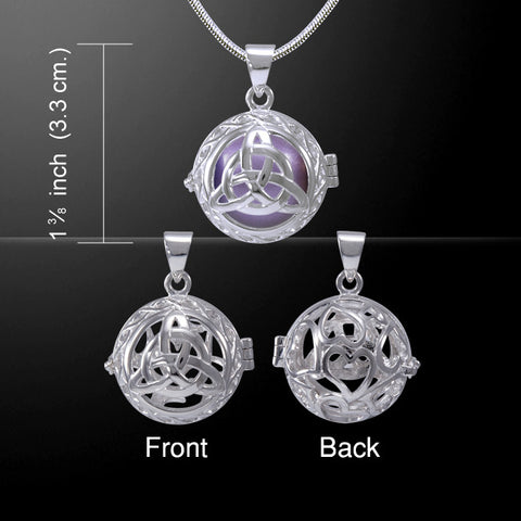 Celtic Trinity Knot Harmony Globe Meditation Pendant in .925 Sterling Silver - Purple Bola Chime Ball Necklace