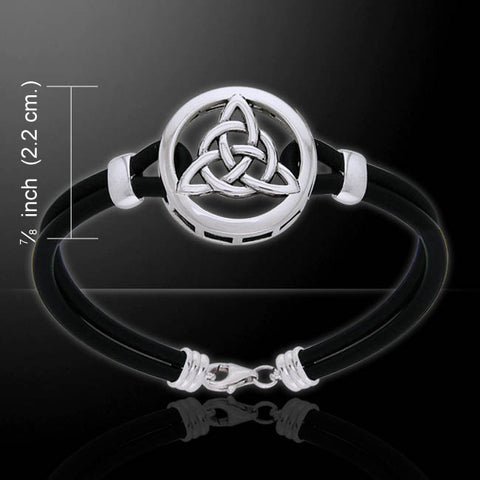 Celtic Knot TRIQUETRA Bracelet in .925 Sterling Silver w/ Genuine Leather Strap, select your size