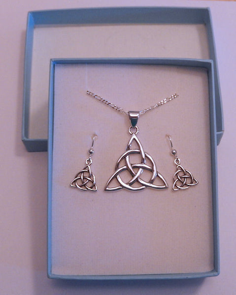Celtic Trinity Knot in .925 Sterling Silver Earring Necklace Set - 18 in chain Triquetra jewelry in Gift Box