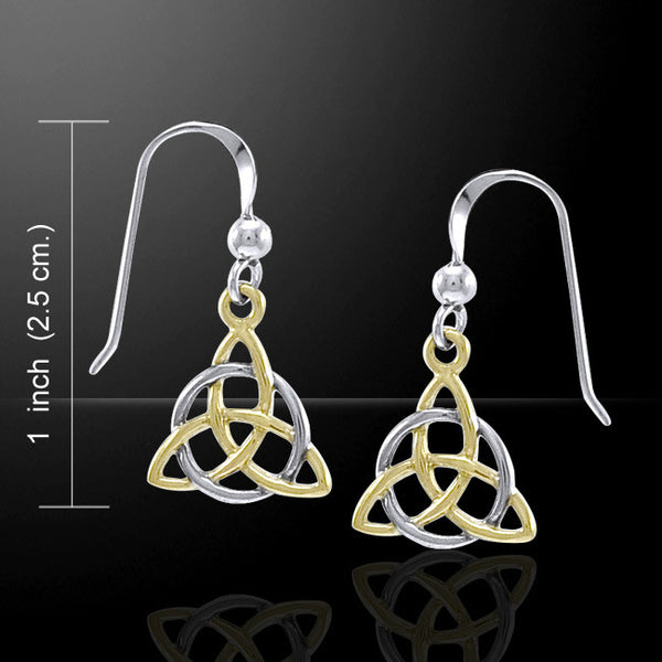 Celtic Knot TRIQUETRA Earrings .925 Sterling Silver with gold accent - GODDESS Irish Trinity Knot Wicca Pagan Drop Earrings