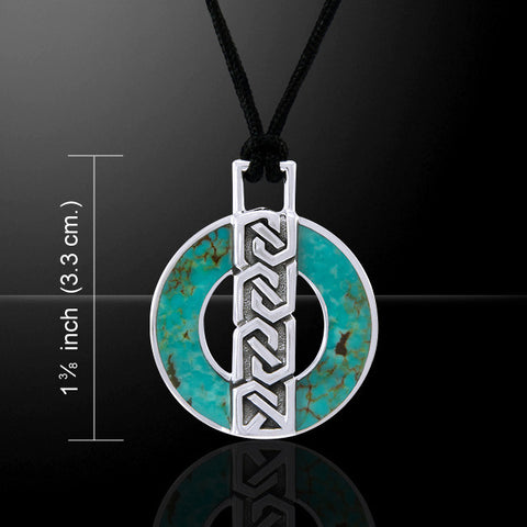 Celtic knot Circle of Life Pendant in .925 Sterling Silver inlaid with Turquoise Corded Necklace