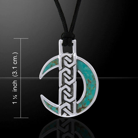 Celtic Moon Pendant in .925 Sterling Silver inlaid with Turquoise Corded Necklace