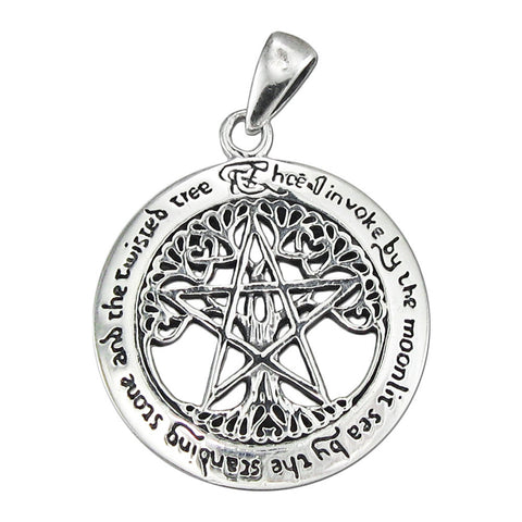 TREE PENTACLE Pendant in .925 Sterling Silver - Dryad Design Twisted Tree Pentagram Amulet