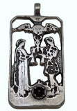 Two of Cups Tarot Card Pendant .925 Sterling Silver with Natural Garnet gemstone -  Love Union Pendant
