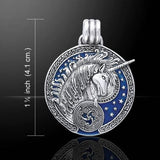 UNICORN Pendant in .925 Sterling Silver with Blue enamel - Medieval Celtic Unicorn Magick amulet