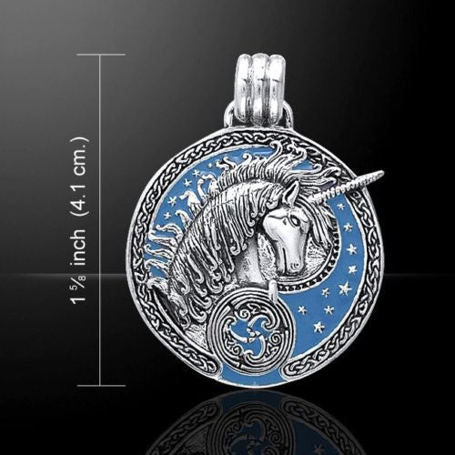UNICORN Pendant in .925 Sterling Silver - Medieval Celtic Unicorn Magick with Sky Blue enamel