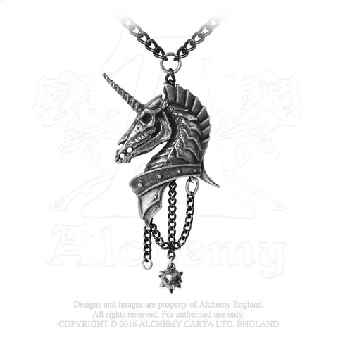 Armored Unicorn Skull Necklace - Alchemy Gothic Geistalon Pendant - Phantom Unicorn Jewelry