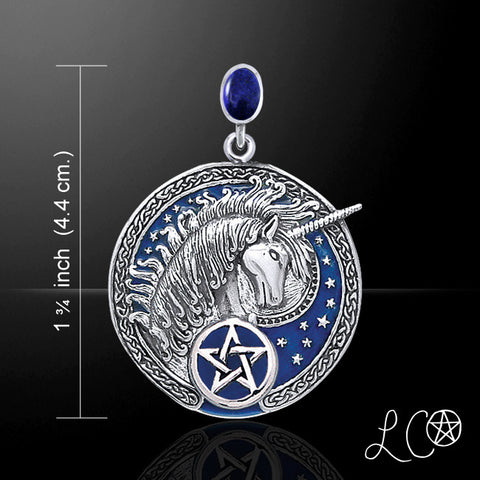 Celtic Unicorn Pentagram Pendant .925 Sterling Silver with Blue enamel and Lapis Lazuli - Medieval Celtic Unicorn Magick amulet