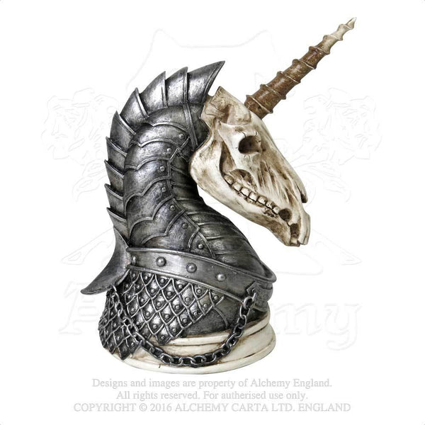Armored Unicorn Skull War Horse Figurine - Alchemy Gothic Geistalon - Phantom Unicorn Home Decor