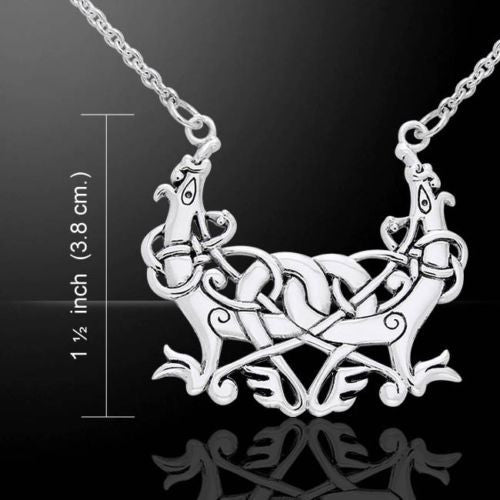 Viking Animal Art Necklace in .925 Sterling Silver - 12th Century Urnes Style Norse VIKING Runestone Pendant