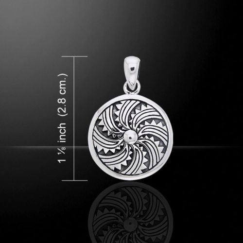 Viking Shield Pendant in .925 Sterling Silver - Norse Nordic Solar Shield amulet
