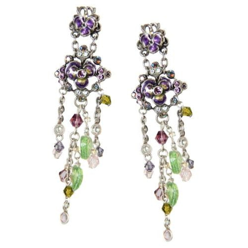 VIOLETS & Crystals Earrings - SWEET ROMANCE Ollipop Purple Violet Flower Dangle Earrings