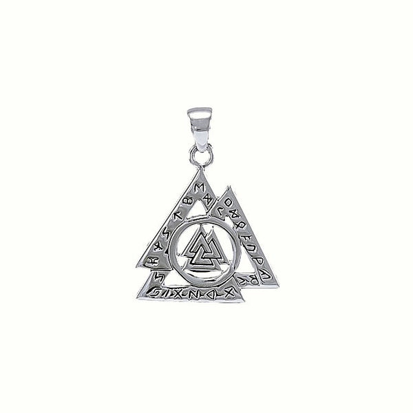 VALKNUT Norse Warriors Knot Pendant in .925 Sterling Silver Viking - Rune Runic Nordic amulet