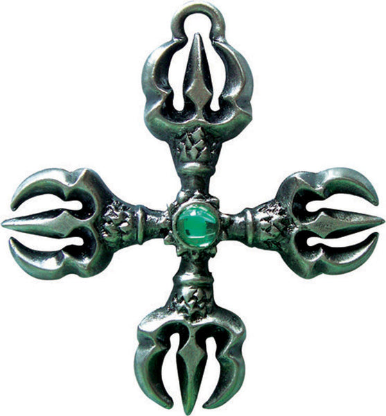 Varja Cross for attaining goals by Briar - Double Dorje Pendant - Vishvavajra Cross amulet