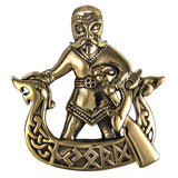 Norse God Njord Pendant in gold tone bronze - Dryad Design Viking God of Wealth Commerce Travel - Dragon Ship
