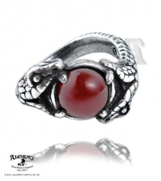 Viperstone Ring Alchemy Gothic Pewter Snake Serpent Ring with Carnelian gemstone