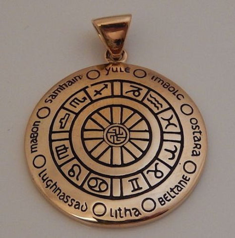 WHEEL of THE YEAR Pendant in Gold tone Bronze - CROSS QUARTERS Sabbats ZODIAC Amulet