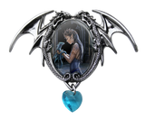 Water Dragon Cameo Necklace Anne Stokes Elf Maiden with Dragon Blue Crystal Heart Choker Necklace